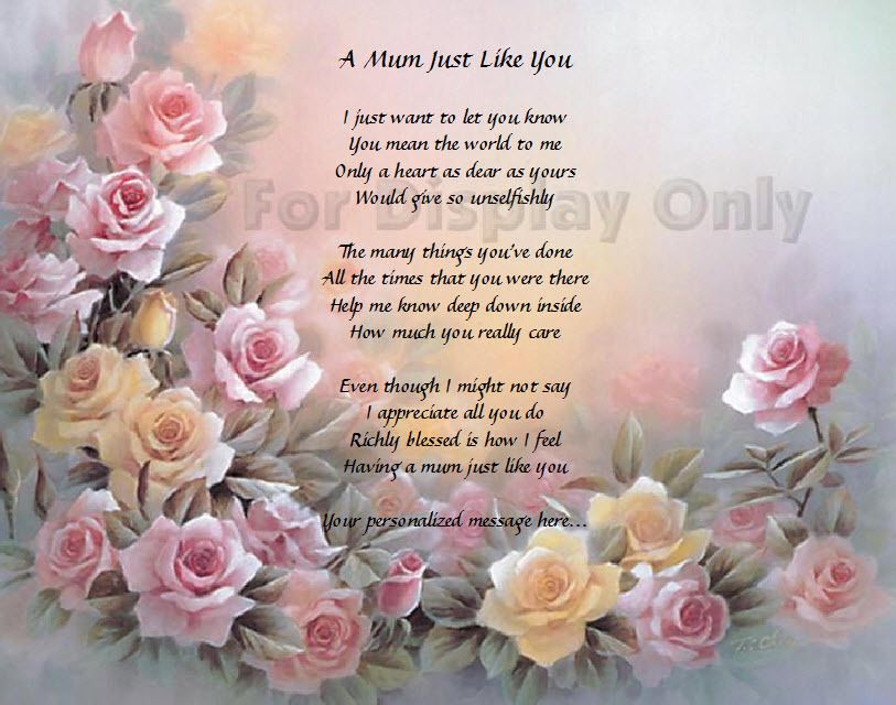 Mum Gift Personalized Poem For Mum Birthday Or Christmas Gift Mothers